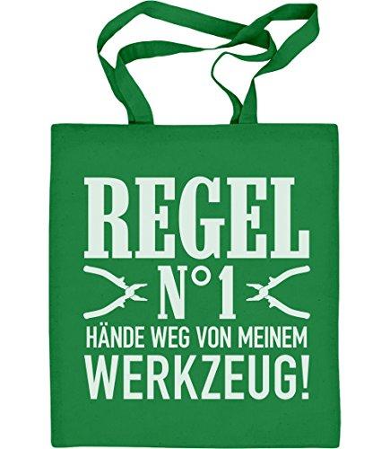 Männer Geschenk - Regel Nummer 1 Hände Weg von meinem Werkzeug! Jutebeutel Baumwolltasche Grün