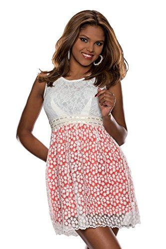 Fashion4Young 5079 débardeur pour femme mini-robe en dentelle disponible en 3 couleurs 3 formats - Rot Weiß