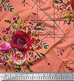 Soimoi Orange Viskose Chiffon Stoff Dreieck, Beeren & Rose