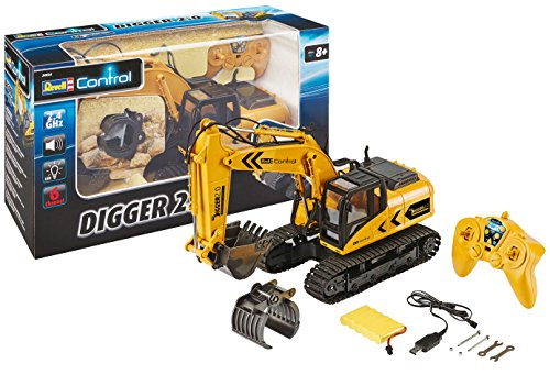 Revell 24924 RC Raupenbagger Digger 2.0, Kettenantrieb, wechselbare Schaufel und Baumgreifer, Outdoor-tauglich, Akku Ferngesteuerter Bagger, 2.4 GHz, gelb