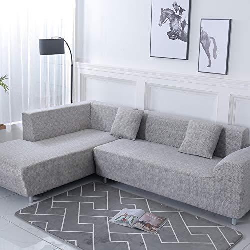 ele ELEOPTION Sofa Überwürfe elastische Stretch Sofa Bezug 2er Set 3 Sitzer für L Form Sofa inkl. 2 Stücke Kissenbezug (Hellgrau) (Sofa Slip Cover)