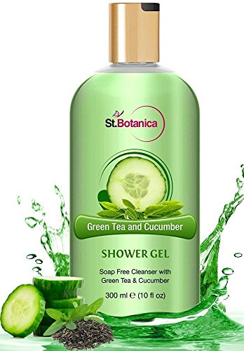 StBotanica Refreshing Green Tea and Cucumber Shower Gel (Luxury Body Wash With Pure Extracts & Oils), 300ml