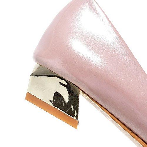 VogueZone009 Femme Pu Cuir Pointu à Talon Bas Tire Couleur Unie Chaussures Légeres Rose