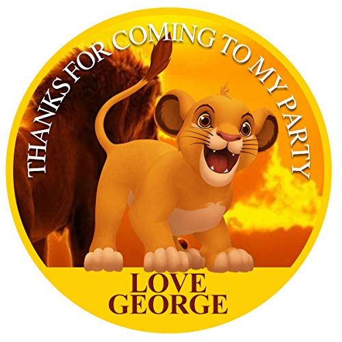 """design buddies Personalised Lion king birthday 50mm 2"""" Stickers thank you labels,thank you for coming to my party labels"""