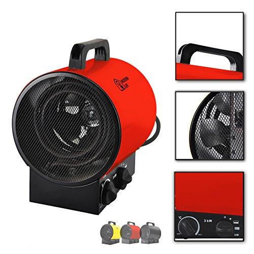 Modern Life 3KW Calentador de Aire Ventilador Industrial calefacción Independiente para el Taller Garaje de la casa Verde Fábrica de 3 velocidades de Aire con termostato silencioso Rojo