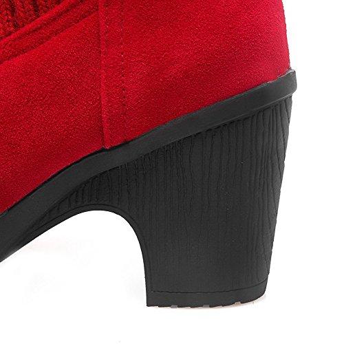 AgooLar Femme à Talon Haut Haut Bas Couleur Unie Rond Bottes Rouge