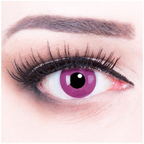 Farbige violet lila Kontaktlinsen Purple + 4 Kunstblut Kapseln + Behälter von Funnylens, weich, ohne Stärke als 2er Pack - perfekt zu Halloween, Karneval, Fasching oder Fasnacht