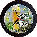 Lucky Clocks BIERUHR KEIN BIER VOR VIER 4 WEISSBIER GEBURTSTAG originelle und lustige Wanduhr für Biertrinker Bierfans Weißbiertrinker für jeden Anlass neutral