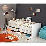 Funktionsbett 90*200 cm weiß inkl.2 Schubladen + Bettkasten Kinderbett Jugendbett Bettliege Bett Jugendzimmer Kinderzimmer Gästezimmer