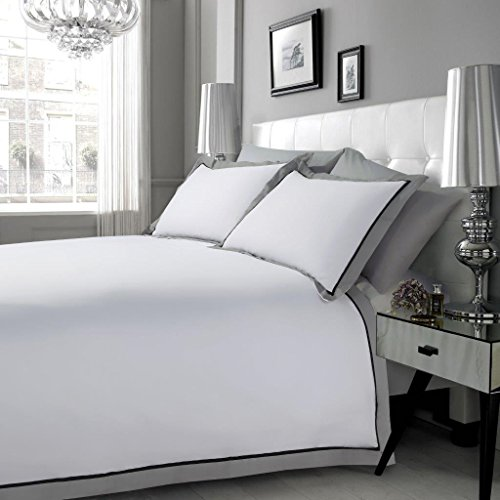 Bettbezug Mayfair aus 100% ägyptischer Bettwäsche-Set, erhältlich in den Größen Doppel-, Kingsize- oder Super-Kingsize-Bett, schwarz / grau / weiß, Super King - Kingsize-bettbezug-bett