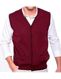 Chaleco caballero de punto, abierto, con botones y bolsillos. Ribete en contraste