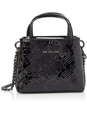Love Moschino Damen Borsa Embossed Patent Pu Nero Baguette, Schwarz (Black), 15 x 19 x 6 cm