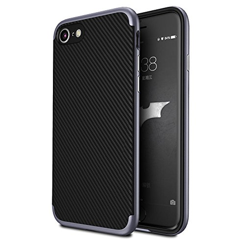 """iphone 6s Coque , ivencase Prime Hybride Anti-scratch Carcasse Bumper Housse Double Couche Etui en fibre de carbone pour iphone 6/6s/iphone Air 4.7"""" Noir+Or darkgray"""