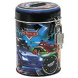 Maxi & Mini-Cars Flash McQueen Spardose rund aus Metall Verschluss mit Vorhängeschloss-Idee Geschenk