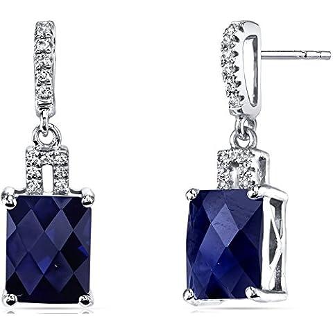 Revoni 14ct Oro Blanco Creado Sapphire Pendientes radiante Checkerboard corte 6,00quilates