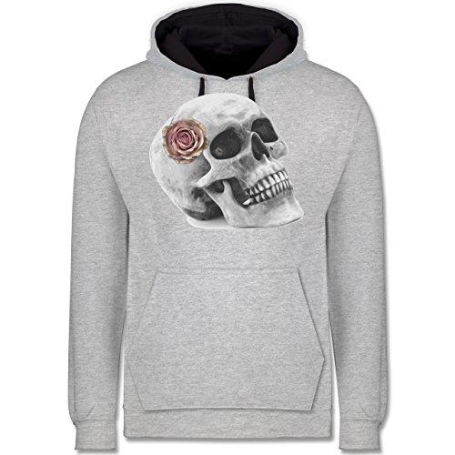 Rockabilly - Totenkopf Rose Vintage Skull - Kontrast Hoodie Grau meliert/Dunkelblau