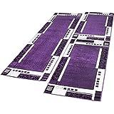 Alfombras De Pasillo Diseño Moderno Color Lila Crema 3 Piezas, Grösse:2mal 60x100 1mal 70x250