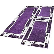 Alfombras De Pasillo Diseño Moderno Color Lila Crema 3 Piezas, Grösse:2mal 70x140 1mal 70x250