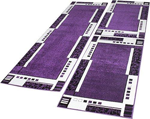 Bettumrandung Läuferset Trendiges Design Bordüre in Lila Creme Läuferset 3 Tlg., Grösse:2mal 70x140 1mal 70x250