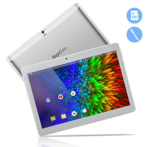 10,1 Zoll 3G Android Tablet, Android 8,1 Quad Core CPU, 64 GB ROM, 2 GB RAM, IPS HD (1280 x 800), entsperrter Telefonanruf Phablet PC mit Zwei SIM-Kartensteckplätzen, GPS, WLAN Tablet Pad (Silber)