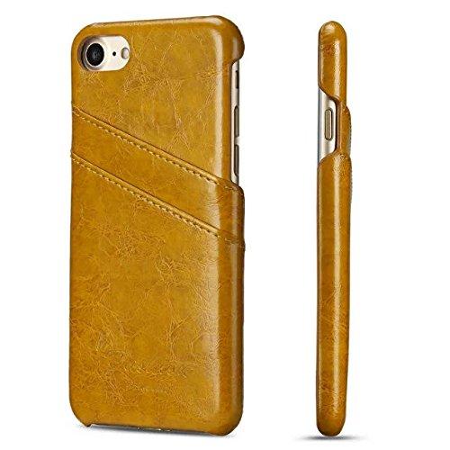 Handy Case für Apple iPhone 8 4.7 Zoll Hülle mit 2 Kartenfächern Hardcase in Leder-Optik Soft Touch Schutz Etui Gelb