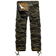 StyleDome Pantalones Anchos Largos Camuflaje Casuales Bolsillos Deporte Algodón para Hombre