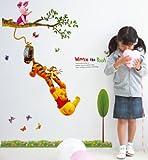 Zuolanyoulan Winnie the Pooh Muster Wandsticker Kinder Schlafzimmer Wandtattoos Wohnzimmer Fensterglas Dekorativen Entfernbare Wandaufkleber Raum Dekor Wall Sticker