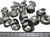 CRYSTAL KING 18 Stück 30mm große klare Deko-Diamanten durchsichtig Brillianten Silber Acryl-Steine bunt Glitzersteine Schmuck-Steine Strass-Steine Streu-Deko Tisch-Deko