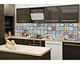 La parete della cucina Pellicola autoadesiva azulejos 260x 60cm | Pellicola Adesiva-pellicola decorativa-Sprit zchutz per cucina | Qualità Premium