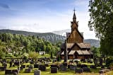 """Poster-Bild 120 x 80 cm: """"Old, wooden stave church in Norway originated in medieval times when christianity was mixing with pagan Vikings"""", Bild auf Poster"""