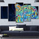 LIXB Dipinti su Tela Camera modulare Wall Art Home Decor 5 Pezzi Neon Kitty Poster HD Stampe Astratte Immagini di Gatti Animali, 30x40cm 30x60cm 30x80cm