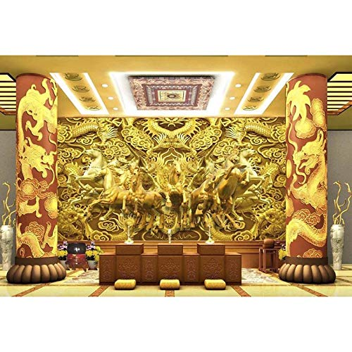 BZDHWWH Custom 3D Photo Mural Wallpaper Para Paredes Golden Hose Dragon Papel De Pared De Lujo Para Sala De Estar Hotel Office Home Decora,250Cm (W) X 200Cm (H)