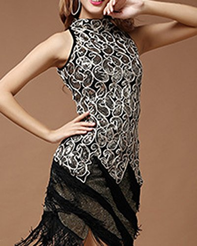 Années 20 Vintage Dance Dress Robe Moulante À Franges Femme Déguisement Costume Noir