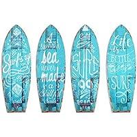 CAPRILO Set de 4 Placas Pared Decorativas de Madera Tablas Surf. Cuadros y Apliques.