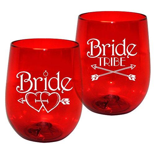 - 12oz Kunststoff ohne Stiel Wein Glas-Braut Tribe Print für Bachelorettes, Set von 12-Bruchsichere Tumbler, durchscheinend rot