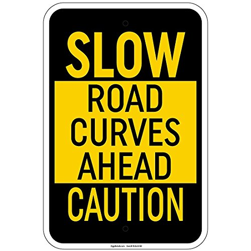 lourd lent Route courbes Ahead Sign 30,5 x 45,7 cm en aluminium Sign Retail Store