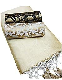 Deepjyoti Creation Women's White Color Kalkatta Cotton Saree With Corner Silk Jhallar And Two Blouse