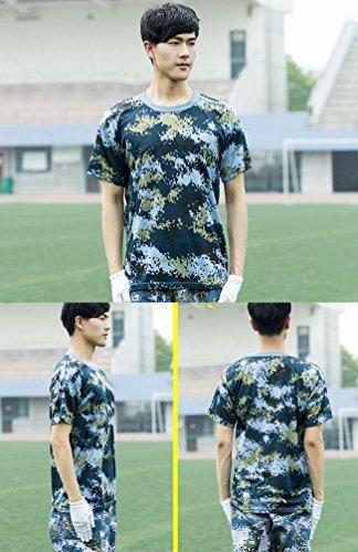 ZhiYuanAN Sommer Unisex Militärisches Trainings Sport T-Shirt Kurze Ärmel Camo Shirt Army Camouflage Kampf Tops Digitale Waldland /Ozean /Wüste Tarnung Tee Shirt Tarnung Stil 3