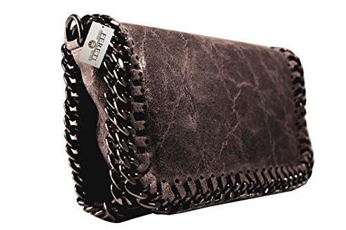 74d9b09178 FERETI pochette cuir sac bandoulière Marron foncé pour femme chaîne