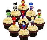 Superhero Pack de fête–comestible pour cupcakes–montant comestible gâteau Décorations, Pack of 36