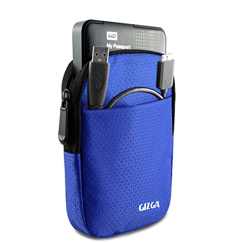 GIZGA Branded 2.5 inch Soft Foam Jacket Pouch - Color: Navy Blue, External Portable Hard Disk Drive Carry Cover Protector/ Pouch / Bag/HDD Case