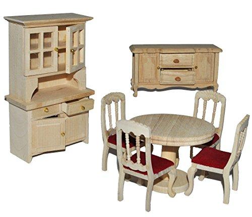 7 tlg. Set: Speisezimmer / Eßzimmer aus hellem natur Holz - Miniatur - Schrank + 4 Stühle + Tisch + Kommode - Puppenstubenmöbel für Puppenstube Maßstab 1:12 - Puppenhaus Puppenhausmöbel Küche - Puppenstubenmöbel - Geldgeschenk - Küchenmöbel - Retro Design Nostalgie - Küchenausstattung - Mini Deko - Modell Möbel (Schrank Esszimmer, Polstermöbel,)