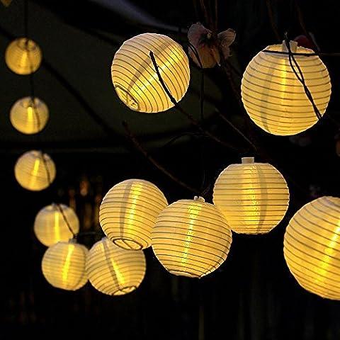JRing Solar String Lights Lanterns, 4.8M 30 LED Waterproof Outdoor Solar Lights Garden String Lights Fairy Lights Ball Globle Lights with Fabric Lantern for Party Garden Yard Home Christmas Decoration (Warm Light)