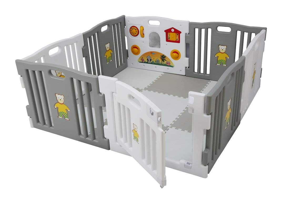 Millhouse Plastic Baby Playpen with Activity Panel with Play Mats Included (Grey & White with Mats) Millhouse Millhouse Plastic Baby Playpen 8 Sides with Activity Panel WITH Grey and White PLAYMATS / 9 Play Mats Included (Individual Size: 49 x 49 x 1 cm / Total Play Mats Size: 148 x 148 x 1 cm) / Suitable age range: 6 - 24 months Playpen with 8 Panels (Including 1 White Door Panel, 1 White Play Panel, 6 Normal Panels - 4 Grey + 2 White) Single Panel Size: 79 x 63 cm / Total Playpen Size: 157 x 157 x 63 cm / Packaging Size: 80 x 41 x 64 cm / PLEASE NOTE: Please note the suction caps will only stick on tile / wooden / laminate flooring and any dust on the floor or suction caps will prevent the suction from working. These are not suitable for sticking on carpet. 4