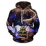 SEWORLD Weihnachten Christmas Herren Männer Herbst Winter Weihnachten Drucken Langarm Mit Kapuze Sweatshirt Top Bluse(Mehrfarbig2,EU-50/CN-XXL)