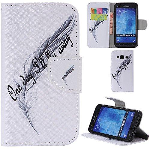 Ooboom® Samsung Galaxy J1 Coque PU Cuir Flip Housse Étui Cover Case Wallet Portefeuille Fonction Support avec Porte-cartes pour Samsung Galaxy J1(2015 Version) - Don't Touch My iPhone Plume Blanc