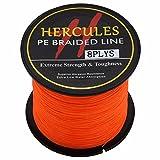 Hercules PE Dyneema Superline geflochtene Angelschnur, 300m, 2,710lb-300lb, 8-fach, Herren, Orange, 10lb/4.5kg 0.12mm