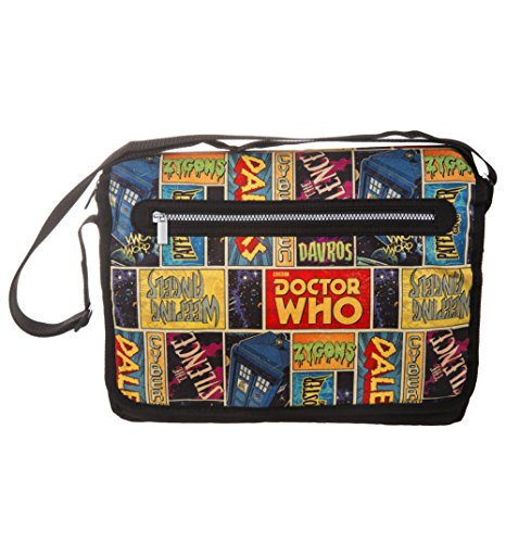 Doctor Who® Retro Comic Large Zipped Padded Satchel Messenger Shoulder Bag. Official Merchandise