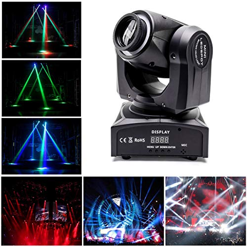 UKing Moving Head LED Scheinwerfer 40W RGBW Bühnenlicht Strahl Lichteffekte DMX512 Partylicht mit Lichtring DJ Lichter für Stage Bar Club Show (Neue Version)