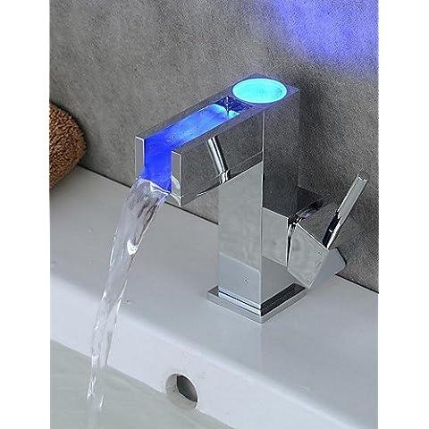 LONG-Contemporaneo Installazione centrale LED with Valvola in ceramica Una manopola Un foro for Cromo , Lavandino rubinetto del bagno